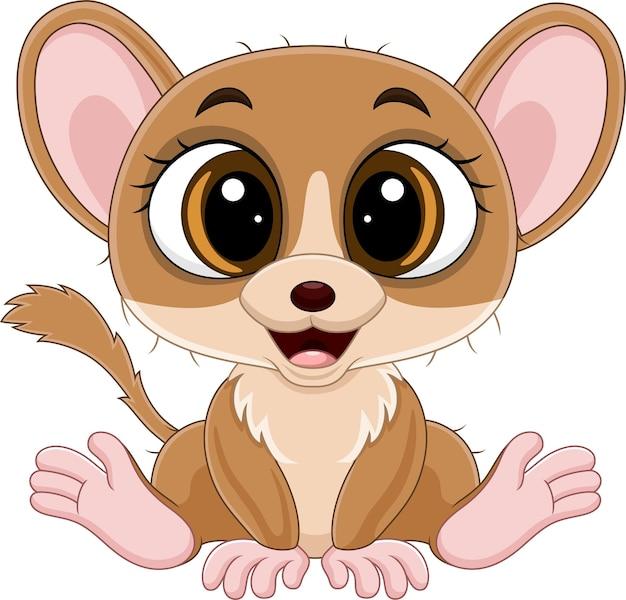 Dessin animé mignon petit lémurien souris assis