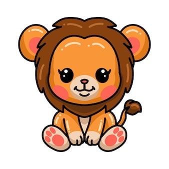 Dessin animé mignon petit lion assis