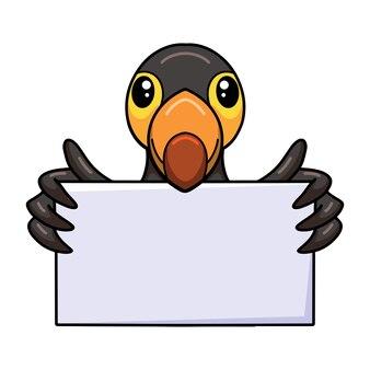 Dessin animé mignon petit oiseau toucan avec signe vierge