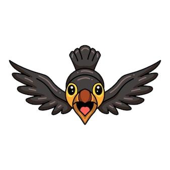 Dessin animé mignon petit oiseau toucan volant