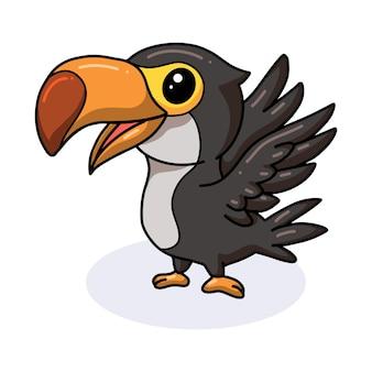 Dessin animé mignon petit oiseau toucan