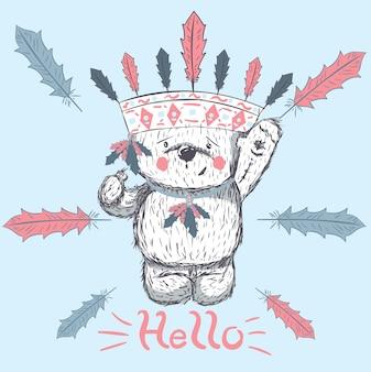 Dessin animé mignon petit ours dessinés à la main vector illustration