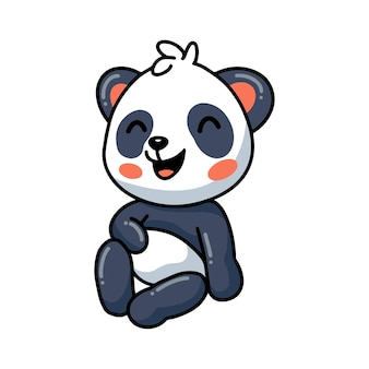 Dessin animé mignon petit panda assis et riant
