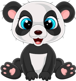 Dessin animé mignon petit panda assis