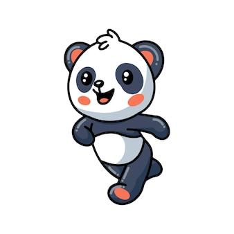 Dessin animé mignon petit panda en cours d'exécution