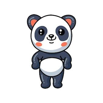 Dessin animé mignon petit panda debout