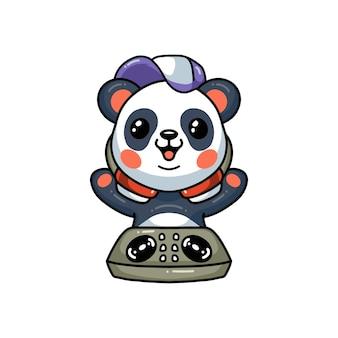 Dessin animé mignon petit panda dj musique