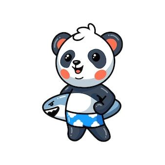 Dessin animé mignon petit panda tenant une planche de surf