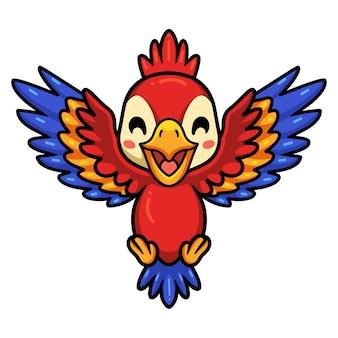 Dessin animé mignon petit perroquet rouge