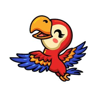 Dessin animé mignon petit perroquet volant