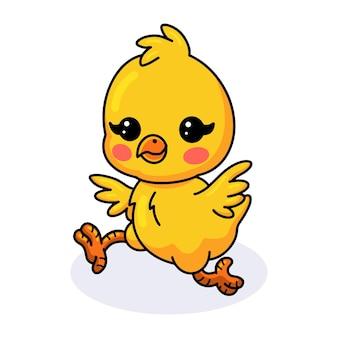 Dessin animé mignon petit poussin jaune en cours d'exécution