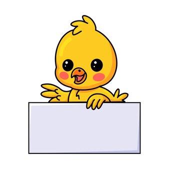 Dessin animé mignon petit poussin jaune avec signe vierge