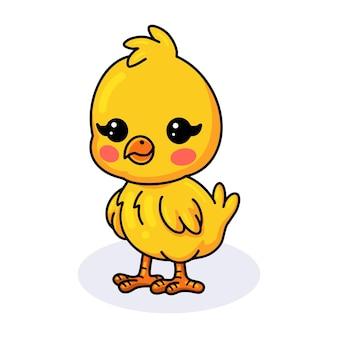 Dessin animé mignon petit poussin jaune