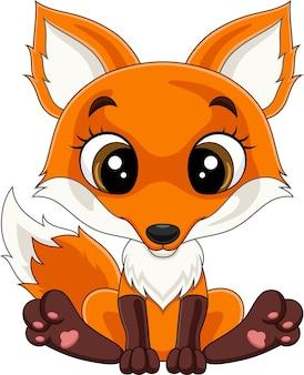 Dessin animé mignon petit renard assis