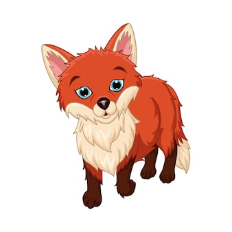 Dessin animé mignon petit renard sur fond blanc