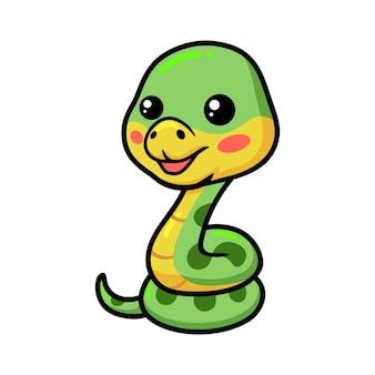 Dessin animé mignon petit serpent vert