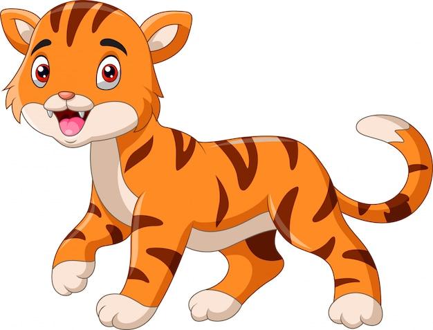 Dessin animé mignon petit tigre marchant seul