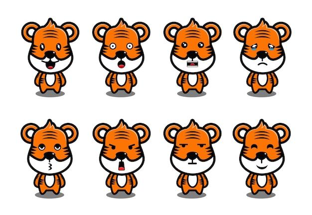 Dessin animé mignon petit tigre mascotte