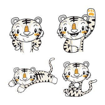 Dessin animé mignon petit tigre