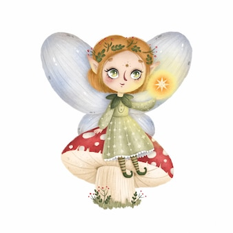 Dessin animé mignon petite fée des forêts avec des ailes est assis sur un champignon agaric mouche sur fond blanc