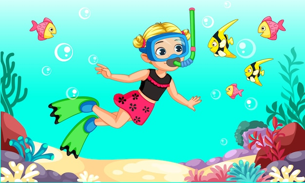 Dessin animé mignon petite fille plongeur