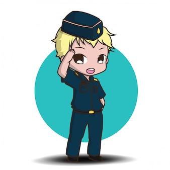 Dessin animé mignon pilote de l'armée de l'air