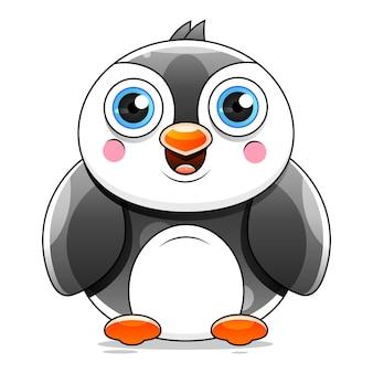 Dessin animé mignon pingouin agitant stock illustration sur fond blanc. pour la conception, la décoration, le logo.