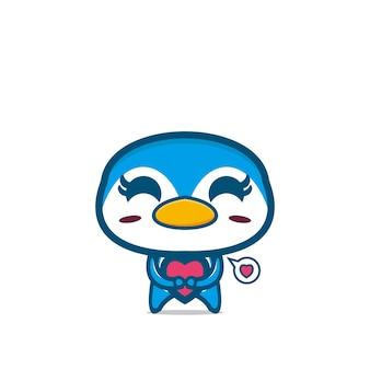 Dessin animé mignon pingouin design mascotte personnage de dessin animé