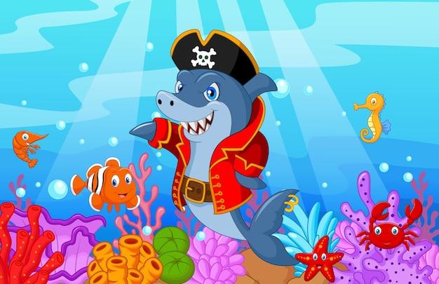 Dessin animé mignon de pirate de requin avec des poissons de collection