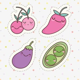 Dessin animé mignon de pois aubergine de légumes