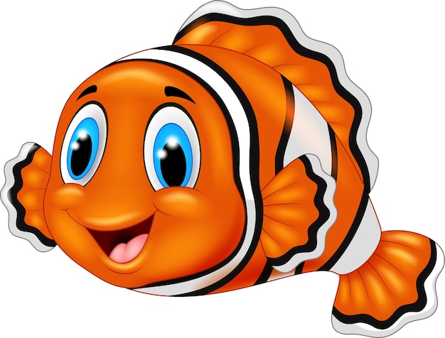 Dessin animé mignon de poisson clown