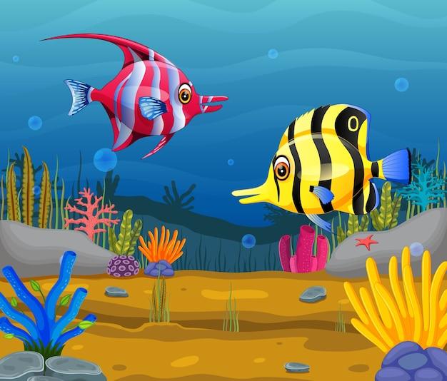 Dessin animé mignon poisson dans la mer