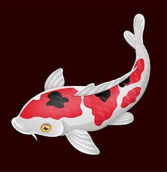 Dessin animé mignon poisson koi sur fond noir