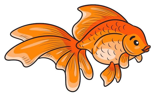 Dessin animé mignon de poisson rouge