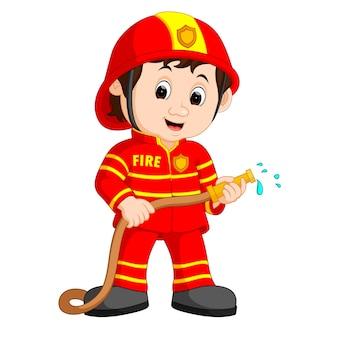 Dessin animé mignon pompier