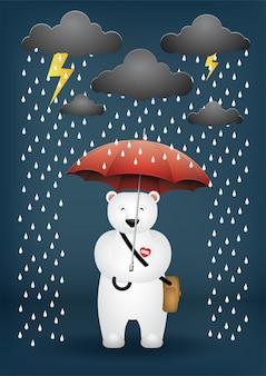 Dessin animé mignon porter un parapluie un jour de pluie.