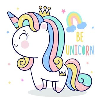 Dessin animé mignon princesse licorne avec arc-en-ciel