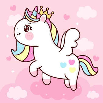 Dessin animé mignon princesse pégase licorne voler sur le ciel animal kawaii