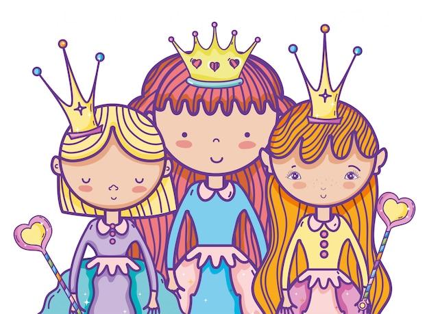Dessin animé mignon de princesses magiques