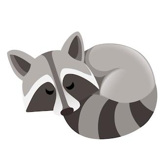 Dessin animé mignon raton laveur vue de côté de sommeil conception de personnage animal de dessin animé