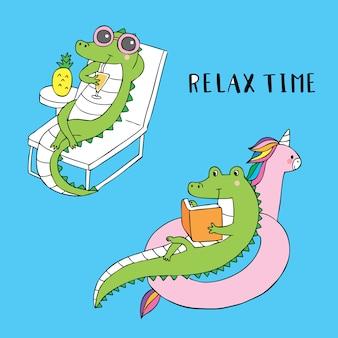 Dessin animé mignon relax vecteur de crocodile de temps.