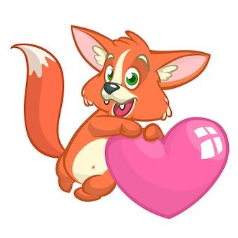 Dessin animé mignon renard orange amoureux tenant un heart.illustration pour la saint-valentin. isolé