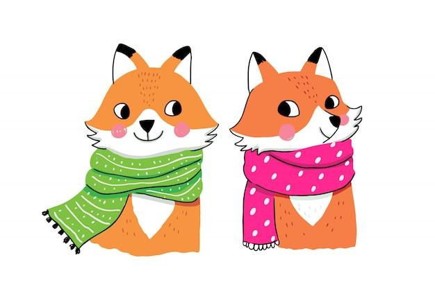 Dessin animé mignon renards d'hiver
