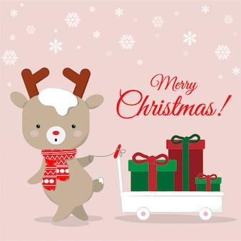 Dessin animé mignon de renne transportant fond de cadeaux chirstmas.