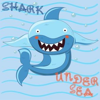 Dessin animé mignon requin dessinés à la main