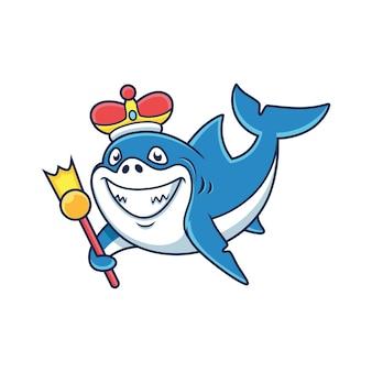 Dessin animé mignon requin roi