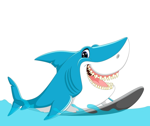 Dessin animé mignon requin surfant