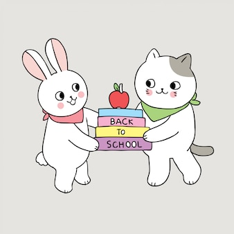 Dessin animé mignon retour au lapin de l'école et chat tenir un livre.