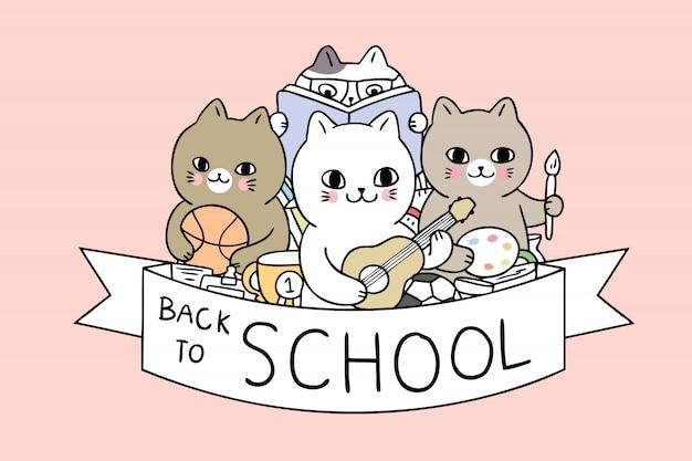 Dessin animé mignon retour aux chats de l'école
