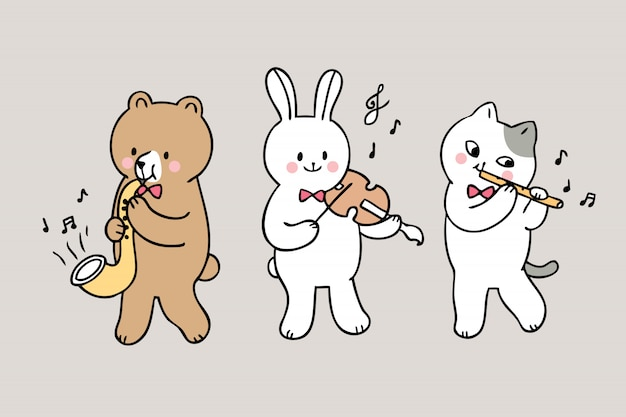 Dessin animé mignon retour à l'école des animaux jouant de la musique en classe